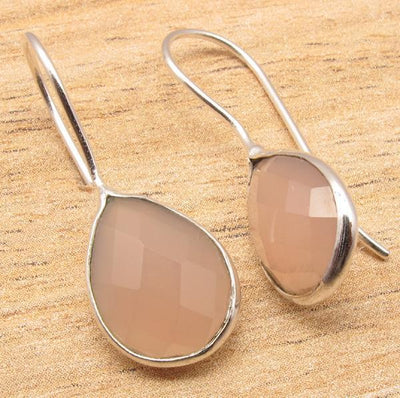 Labradorite Pear Drop Earrings Rose Quartz Earrings