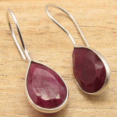 Labradorite Pear Drop Earrings Ruby Earrings