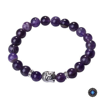 Lapis Lazuli Buddha Bracelet: Silver Plated with Crystal Stud Spacer Amethyst Bracelet