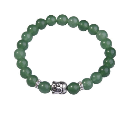 Lapis Lazuli Buddha Bracelet: Silver Plated with Crystal Stud Spacer Green aventurine Bracelet
