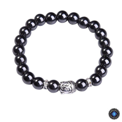 Lapis Lazuli Buddha Bracelet: Silver Plated with Crystal Stud Spacer Hematite Bracelet