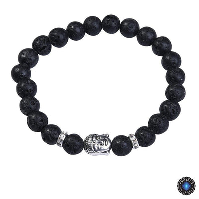 Lapis Lazuli Buddha Bracelet: Silver Plated with Crystal Stud Spacer Lava stone Bracelet