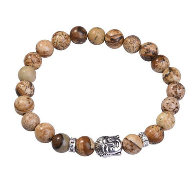 Lapis Lazuli Buddha Bracelet: Silver Plated with Crystal Stud Spacer Picture Jasper Bracelet