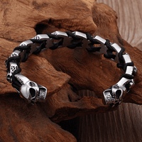 Leather Woven Stainless Steel Power Bangle Bracelet