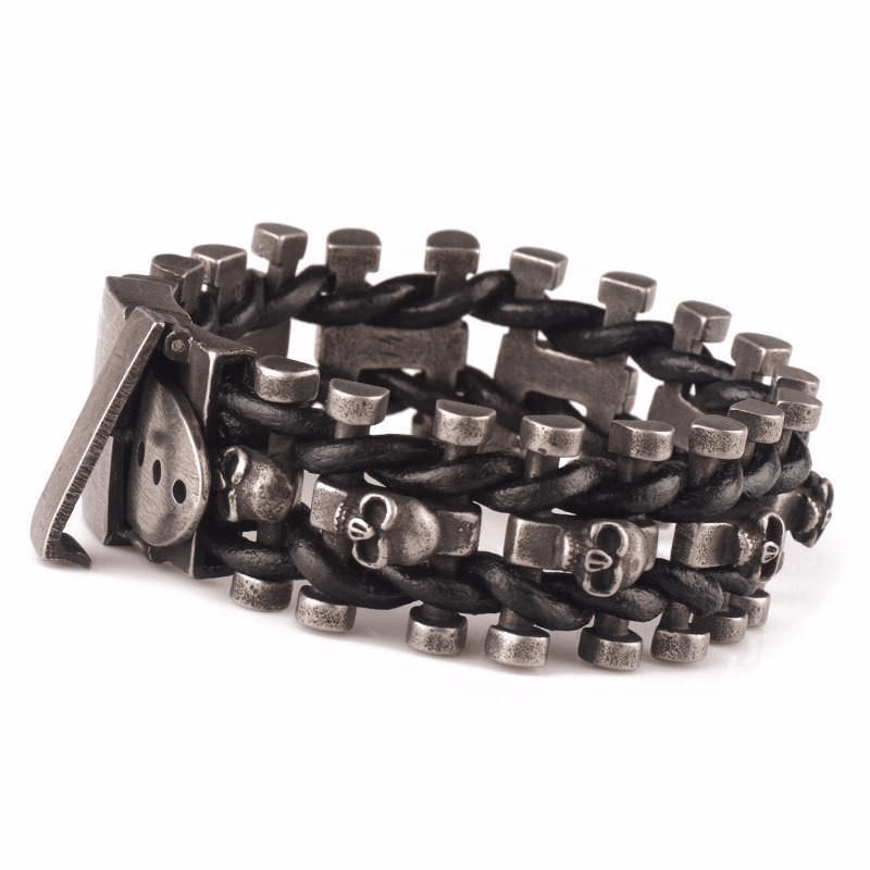 Leather Woven Stainless Steel Skull Bracelet - Project Yourself