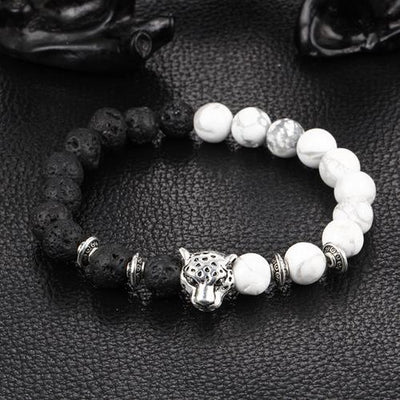 Leopard Charm Natural Stone Beads Bracelet Lava Stone / White Turquoise - Silver / Buy 1 - Save 50% Bracelet