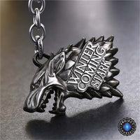 Limited Edition Game of Thrones Winter Is Coming Stark Keychain Silver Keychains