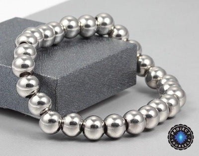 Limited Edition High Polish Silver Stainless Steel Beads Bracelet Bracelet