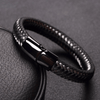 Limited Edition Stainless Steel Wire Cable Leather Bracelet 19cm | 7.5in / Black Bracelet