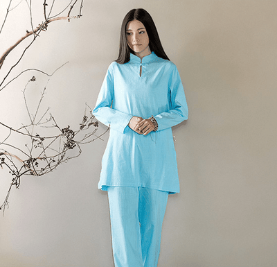 Long-sleeved Chinese Collar Cotton Meditation 2-Piece Clothing Set Blue / M Mind and Spirit