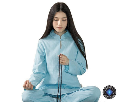 Long-sleeved Chinese Collar Cotton Meditation 2-Piece Clothing Set Blue / S Mind and Spirit