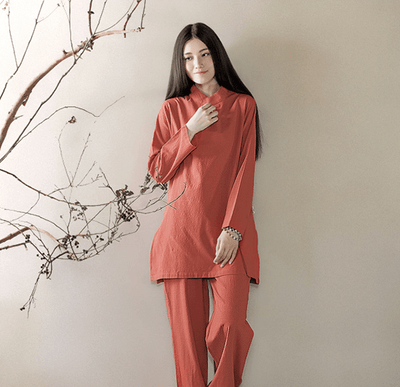 Long-sleeved Chinese Collar Cotton Meditation 2-Piece Clothing Set Copper / M Mind and Spirit