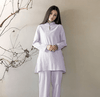 Long-sleeved Chinese Collar Cotton Meditation 2-Piece Clothing Set Light Purple / M Mind and Spirit