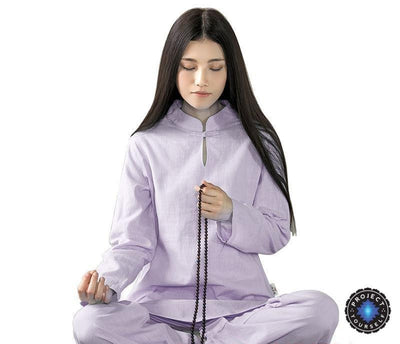 Long-sleeved Chinese Collar Cotton Meditation 2-Piece Clothing Set Light Purple / S Mind and Spirit