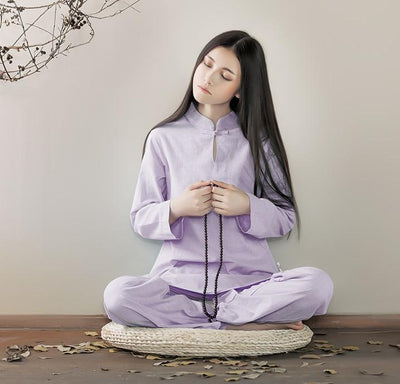 Long-sleeved Chinese Collar Cotton Meditation 2-Piece Clothing Set Mind and Spirit