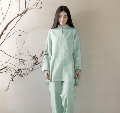 Long-sleeved Chinese Collar Cotton Meditation 2-Piece Clothing Set Mint / M Mind and Spirit