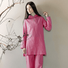 Long-sleeved Chinese Collar Cotton Meditation 2-Piece Clothing Set Pink / M Mind and Spirit