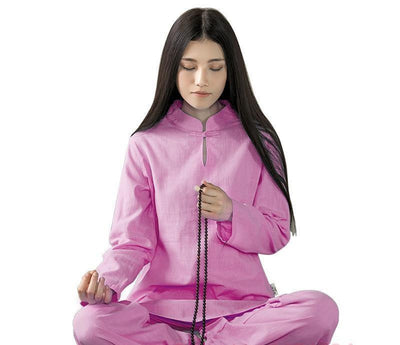 Long-sleeved Chinese Collar Cotton Meditation 2-Piece Clothing Set Rose / S Mind and Spirit