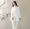 Long-sleeved Chinese Collar Cotton Meditation 2-Piece Clothing Set White / M Mind and Spirit