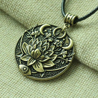 Lotus Midnight Bloom Necklace Antique Bronze Necklace