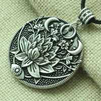 Lotus Midnight Bloom Necklace Antique Silver Necklace