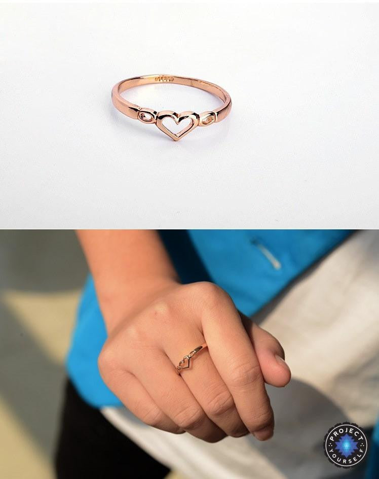 Lovely 18K Gold and Platinum Plated Hollow Heart Ring Project