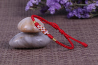 "Lucky Handmade Buddhist Knots ""Peach Flower"" Rope Bracelet Red Bracelet"