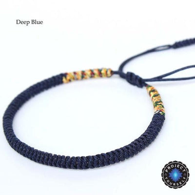 Lucky Handmade Buddhist Knots Rope Bracelet (New Colors!) Deep Blue Bracelet