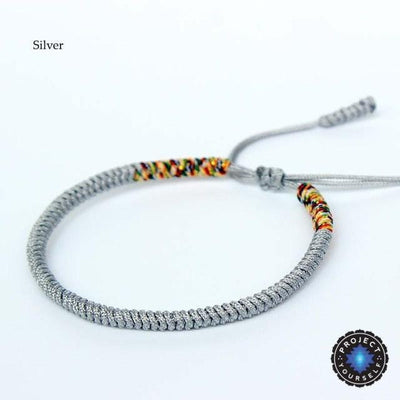 Lucky Handmade Buddhist Knots Rope Bracelet (New Colors!) Silver Bracelet