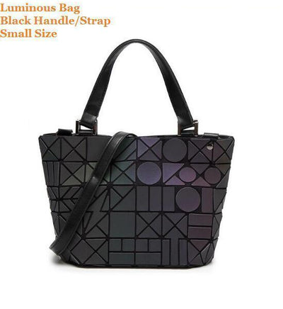 Luminous Aurora Geometric Tote Circle - black handle SMALL Bags