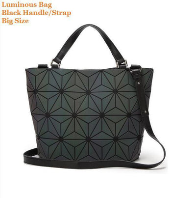Luminous Aurora Geometric Tote Flower - black handle BIG Bags