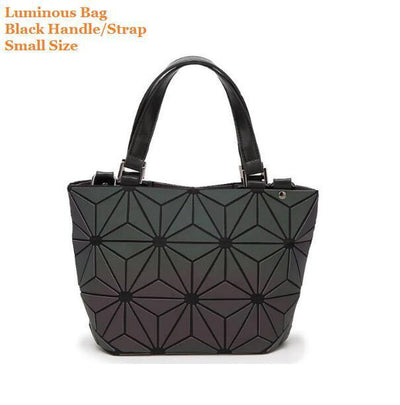 Luminous Aurora Geometric Tote Flower - black handle SMALL Bags