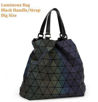 Luminous Aurora Geometric Tote Pyramid - black handle BIG Bags