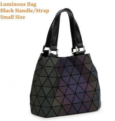 Luminous Aurora Geometric Tote Pyramid - black handle SMALL Bags