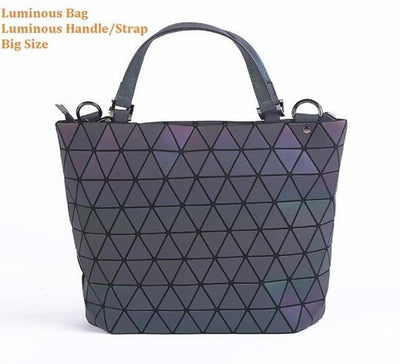 Luminous Aurora Geometric Tote Pyramid - luminous handle BIG Bags