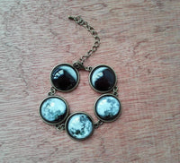 Luminous Phases of the Moon Glass Jewelry Bronze Bracelet Necklace