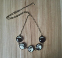 Luminous Phases of the Moon Glass Jewelry Bronze Necklace Necklace