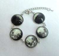 Luminous Phases of the Moon Glass Jewelry Silver Bracelet Necklace