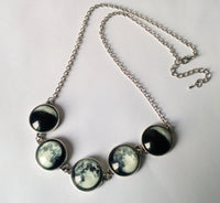 Luminous Phases of the Moon Glass Jewelry Silver Necklace Necklace