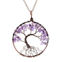 Magnificent Handmade Tree of Life Natural Stone Pendant Necklace Amethyst Chakra Necklace