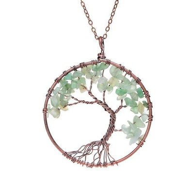 Magnificent handmade tree of life natural stone pendant necklace magnificent handmade tree of life natural stone pendant necklace green aventurine chakra necklace aloadofball Image collections