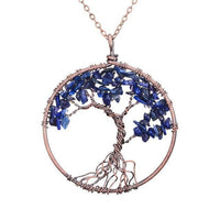 Magnificent Handmade Tree of Life Natural Stone Pendant Necklace Lapis Lazuli Chakra Necklace