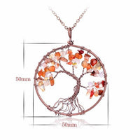 Magnificent Handmade Tree of Life Natural Stone Pendant Necklace Red Agate Chakra Necklace