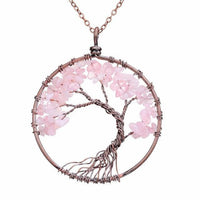 Magnificent Handmade Tree of Life Natural Stone Pendant Necklace Rose Quartz Chakra Necklace