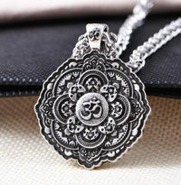 Majestic Lotus Mandala Om Necklace Style 1 - Chain Necklace