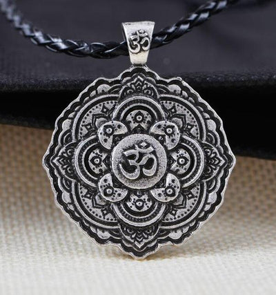 Majestic Lotus Mandala Om Necklace Style 1 - Cord Necklace
