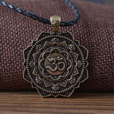Majestic Lotus Mandala Om Necklace Style 2 (Bronze) - Cord Necklace