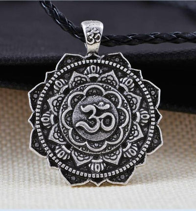Majestic Lotus Mandala Om Necklace Style 2 - Cord Necklace