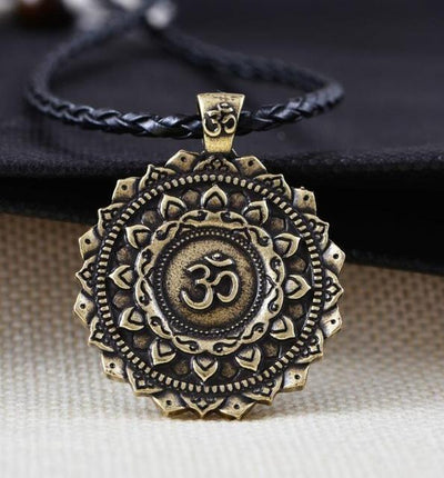 Majestic Lotus Mandala Om Necklace Style 3 (Bronze) - Cord Necklace