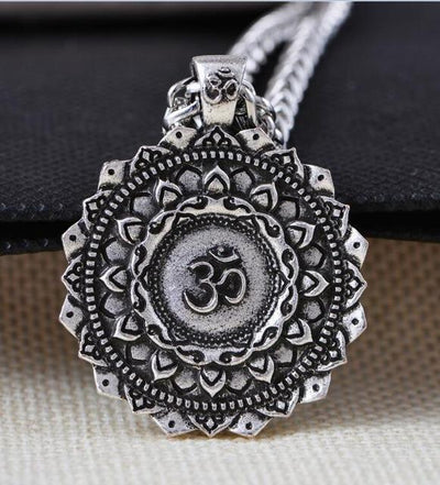 Majestic Lotus Mandala Om Necklace Style 3 - Chain Necklace